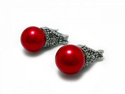 Aros lady di perla roja 8mm de acero quirúrgico PROMOCION