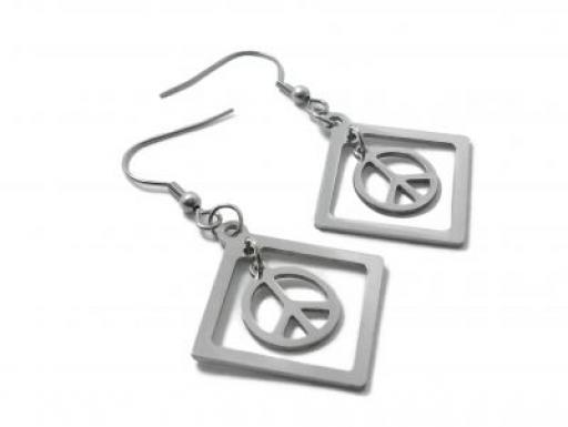 Aros colgantes símbolo de la paz de acero quirúrgico