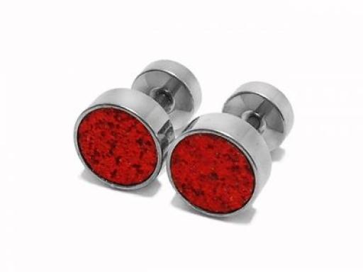 Aros circulo grande brillantes rojos de acero quirurgico