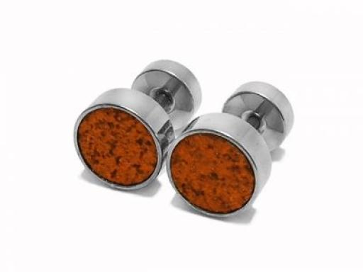 Aros circulo grande con brillantes naranja de acero quirurgico