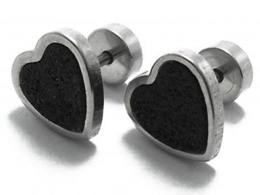 Aros corazón esmaltado negro de acero quirúrgico