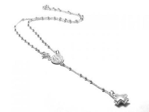 8640d501783e Cadena rosario de Plata 925 medalla milagrosa y cruz del equilibrio inflada