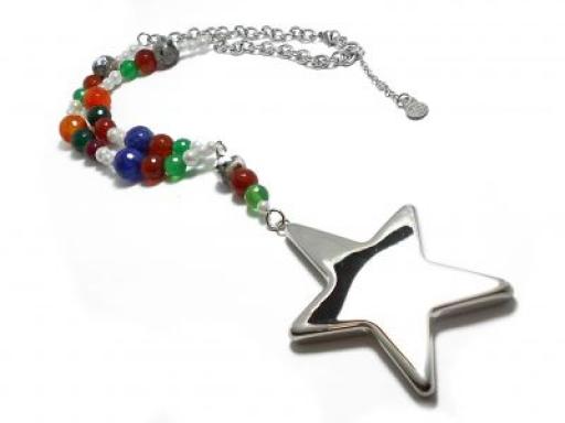 Cadena espejito con perlas, bolitas de colores facetadas y dije estrella de acero quirúrgico
