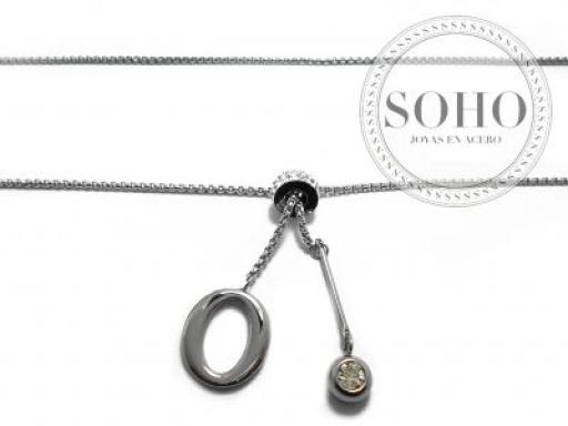 Cadena corbatero de rolo cuadrada con dije O, piedra facetada blanca y dona con cubics de acero quirúrgico SOHO -LOC-