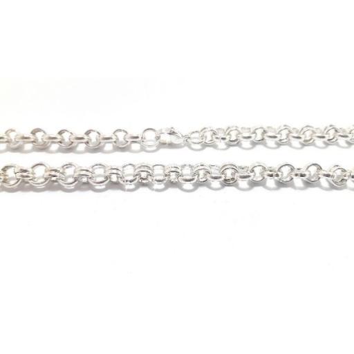 Cadena rolo doble 6mm 50cm de acero blanco