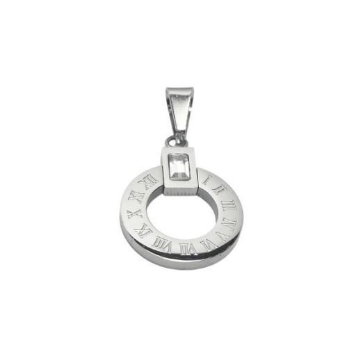 Dije círculo calado con números romanos y cubic de acero quirúrgico Alt: 35mm incl. argolla