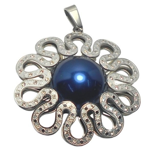 Dije flor calada con cubics y perla azul de acero quirúrgico Alt: 60mm incl. argolla