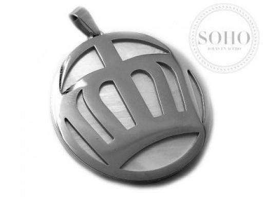 Dije corona con fondo de nacar de acero quirúrgico SOHO