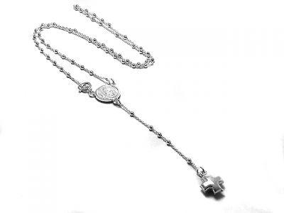 7fb1586f1f0 Cadena rosario de Plata 925 bolitas 2mm 60cm medalla San Benito y ...