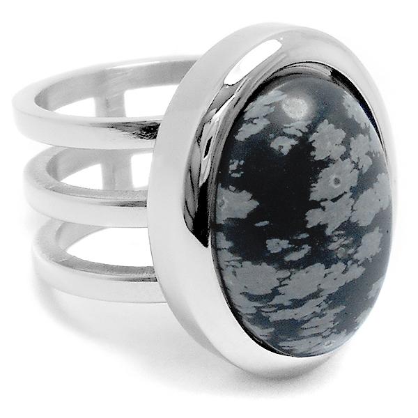 comprar popular c6f5a 5a7f0 Anillo triple con piedra obsidiana negra ovalada de acero quirúrgico -LOC-  C15