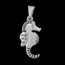 Dije hipocampo inflado con cubics blancos de acero blanco