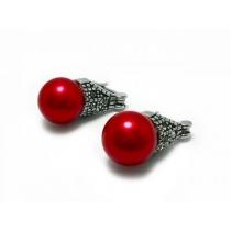 Aros lady di perla roja 10mm de acero quirúrgico PROMOCION