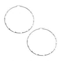 PACK de 6 pares de Aros argolla ondulada 65mm de acero blanco