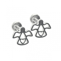 Pack de 6 Aros tipo abridor Angel con corazón calado de acero blanco