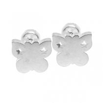 Pack de 6 Aros tipo abridor Mariposa con estrellas caladas de acero blanco