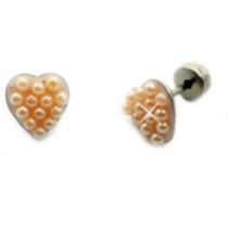 Abridores corazon con microperlas rosa de acero quirurgico