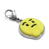 Dije emoji pensativo con mosquetón de acero quirúrgico