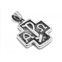 Dije cruz del equilibrio con símbolos griego alfa y omega de acero quirúrgico