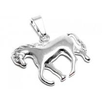 Dije caballo inflado de acero blanco