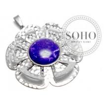 Dije flor con círculo violeta de acero quirúrgico SOHO