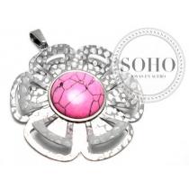 Dije flor con círculo rosa de acero quirúrgico SOHO