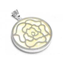 Dije círculo de nacar con flor de acero blanco