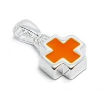 Dije cruz del equilibrio esmaltada naranja de acero blanco