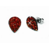 Aros gota con cubics rojo de acero quirurgico