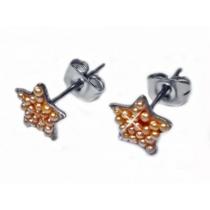 Aros estrella con microperlas ambar de acero quirurgico