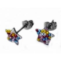 Aros estrella con microperlas multicolor de acero quirurgico