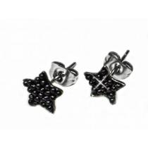 Aros estrella con microperlas negras de acero quirurgico