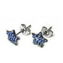 Aros estrella con microperlas azules de acero quirurgico