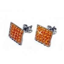 Aros cuadrados con microperlas ambar de acero quirurgico