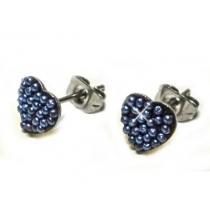 Aros corazon con microperlas azules de acero quirurgico