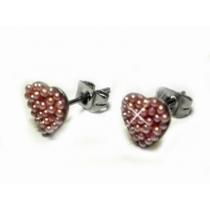 Aros corazon con microperlas rosa de acero quirurgico