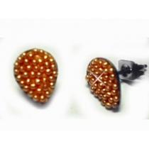Aros gota con microperlas ambar de acero quirurgico