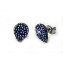 Aros gota con microperlas azules de acero quirurgico