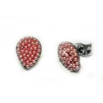 Aros gota con microperlas rosa de acero quirurgico
