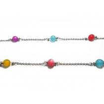 Cadena espejito con bolitas de colores de acero quirúrgico -OFERTA-