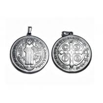 PACK X 5 Dijes medalla de san benito de acero quirurgico  Alt: 32 mm incl. argolla -OFERTA-