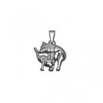 Dije elefante con su cría tramado de acero quirúrgico Alt: 25mm incl. argolla
