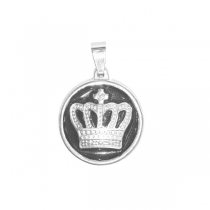 Dije corona tramada y esmaltada de acero blanco Alt: 25mm incl. argolla