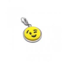 Dije emoji GUIÑO con mosquetón de acero quirúrgico
