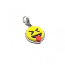Dije emoji lenguita xD con mosquetón de acero quirúrgico
