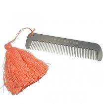 Peine macizo de Acero quirúrgico Calidad Premium acabado espejo 10cm con Pompón de hilo color salmón especial barberia peluqueria peinar