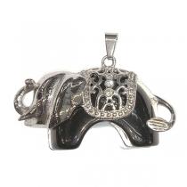 Maxi-dije elefante con piedra negra y cubics de acero quirúrgico Altura 40mm incluyendo argolla / Largo: 54mm