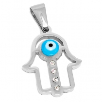 Dije mano de Fátima calada con ojo turco y cubics de acero quirúrgico