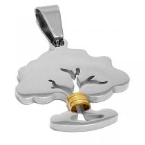 Dije árbol de la vida calado con aplique dorado de acero quirúrgico PREMIUM