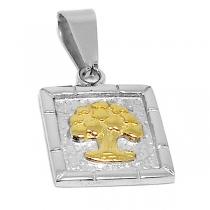 Dije árbol de la vida con dorado de acero quirúrgico PREMIUM