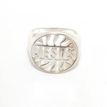 ANILLO JESUS CALADO EN PLATA 925